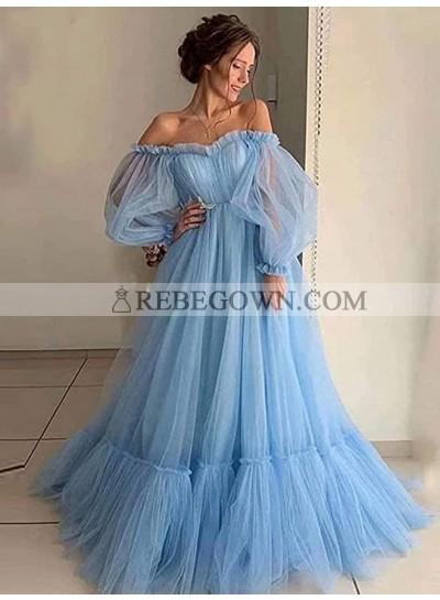 Off Shoulder Tulle A Line Pink Long Sleeves Prom Dresses