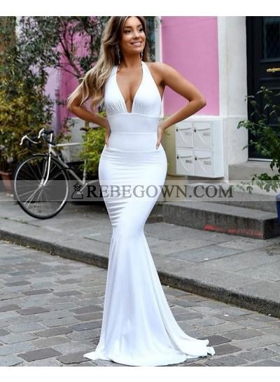 Long White Mermaid Sweetheart Backless Halter Prom Dresses