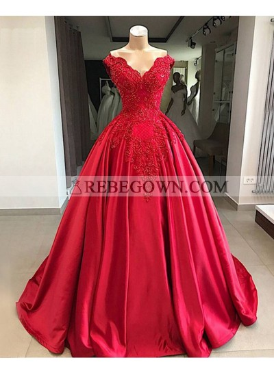 Red Ball Gown Satin With Appliques Off Shoulder Sweetheart Prom Dresses