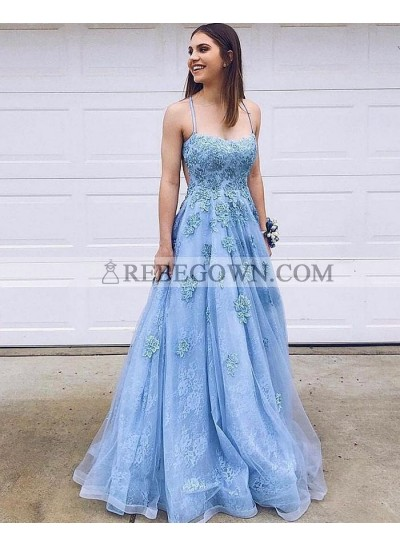 Long A Line Blue Sweetheart Tulle Lace Prom Dresses