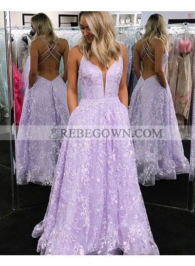 Long Lilac A Line Tulle Sweetheart Lace Prom Dresses