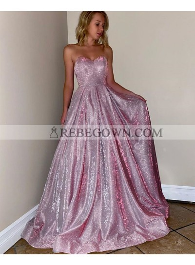 Sequence A Line Pink Long Sweetheart Prom Dresses