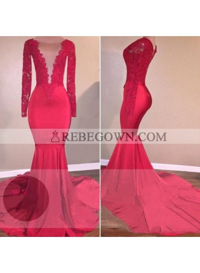 Long Red Lace Open Front Long Sleeves Mermaid Prom Dresses