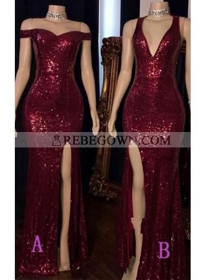 Off Shoulder Burgundy Side Slit Sweetheart Long Sequence Prom Dresses