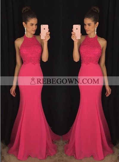 Sleeveless Halter Mermaid Chiffon Prom Dresses