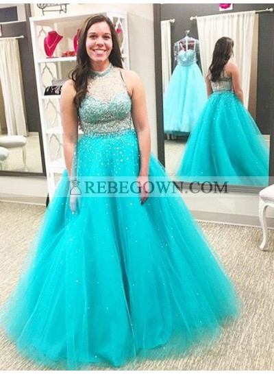 rebe gown 2020 Blue Beading High Neck Ball Gown Tulle Prom Dresses