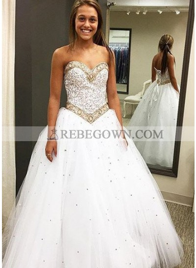 2021 Unique White Prom Dresses Sweetheart Beading Lace Up A-Line Tulle