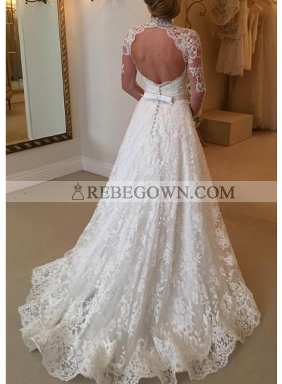 Lace Court Train A-Line Long Sleeve Sweetheart Covered Button Wedding Dresses / Gowns With Appliqued Waistband