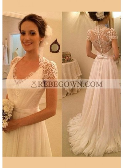 Chiffon Floor-Length A-Line Short Sleeve Bateau Covered Button Wedding Dresses / Gowns With Appliqued