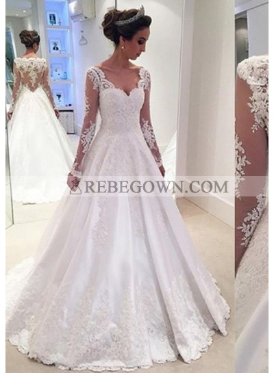 Elastic Satin Floor-Length A-Line Long Sleeve Sweetheart Zipper Up At Side Wedding Dresses / Gowns With Appliqued
