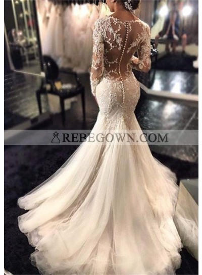Tulle Sweep Train Trumpet/Mermaid  Long Sleeve V-Neck Covered Button Wedding Dresses / Gowns With Appliqued