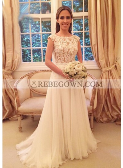 Tulle Sweep Train A-Line Sleeveless Bateau Covered Button Wedding Dresses / Gowns With Appliqued