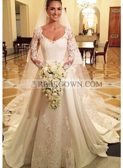 Satin Court Train A-Line Long Sleeve Bateau Covered Button Wedding Dresses / Gowns With Appliqued