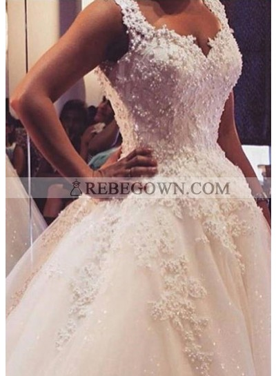 Tulle Sweep Train Ball Gown Sleeveless Sweetheart Covered Button Wedding Dresses / Gowns With Beaded