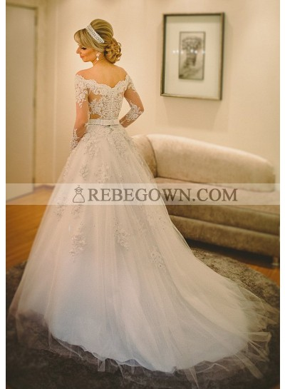 Tulle Floor-Length A-Line Long Sleeve Off-The-Shoulder Covered Button Wedding Dresses / Gowns With Appliqued