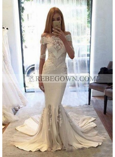 Chiffon Wedding Dresses / Gowns A-Line Off-The-Shoulder Court Train With Appliqued