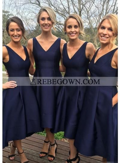 Satin Bridesmaid Dresses / Gowns A-Line V-Neck Tea-Length