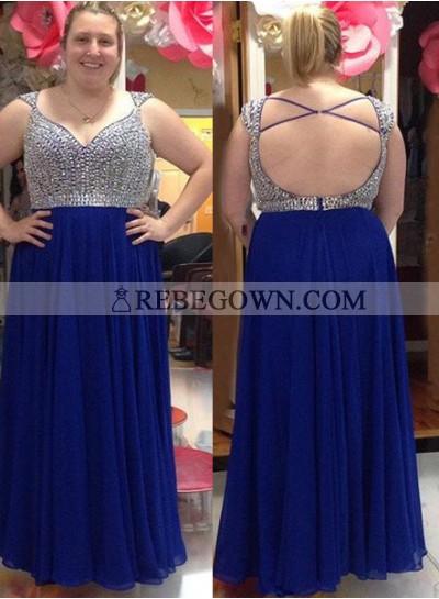 rebe gown 2020 Blue Beading Criss-Cross Chiffon Prom Dresses