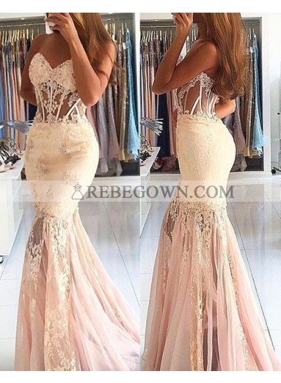 Charming Beading Mermaid Lace Prom Dresses