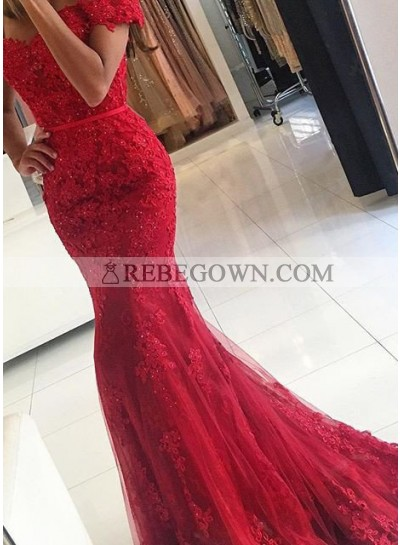 2020 Gorgeous Red Sexy Appliques Mermaid Tulle Prom Dresses