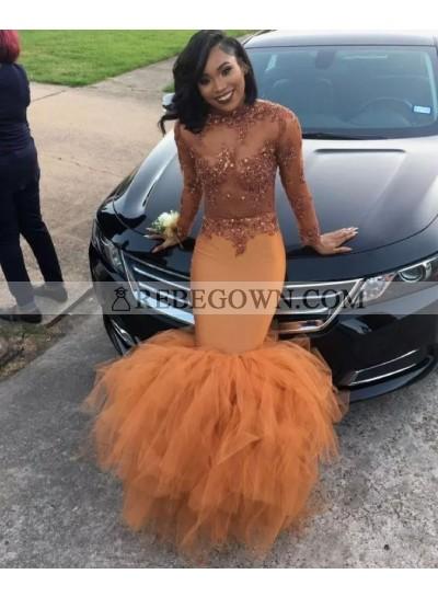 2020 Cheap Long Sleeve Mermaid  Prom Dresses