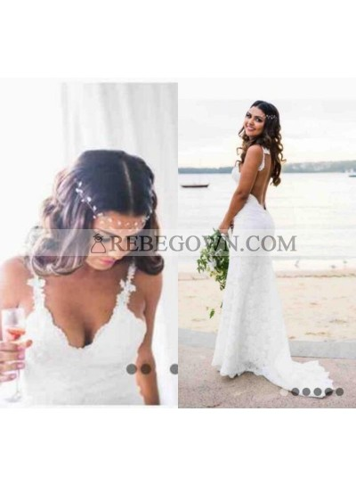 Charming Sheath Backless Lace 2020 Beach Wedding Dresses