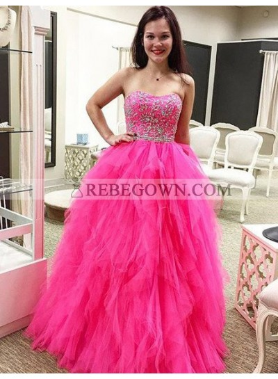 Prom Dresses Sweetheart Beading Layers A-Line Tulle