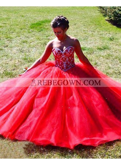 2021 Gorgeous Red Beading Sweetheart Ball Gown Tulle Prom Dresses