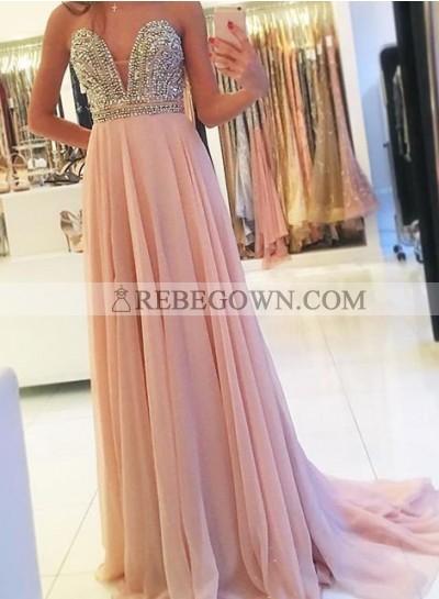 Beading Sweetheart A-Line Chiffon 2021 Glamorous Pink Prom Dresses