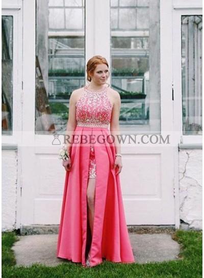 Appliques Halter Front-Slit Satin 2021 Glamorous Pink Prom Dresses