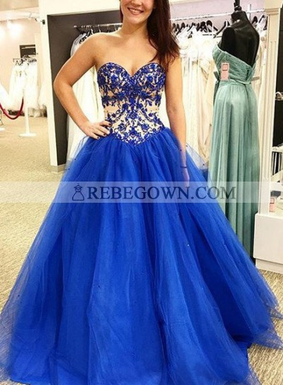 Royal Blue Prom Dresses Sweetheart Appliques A-Line Tulle