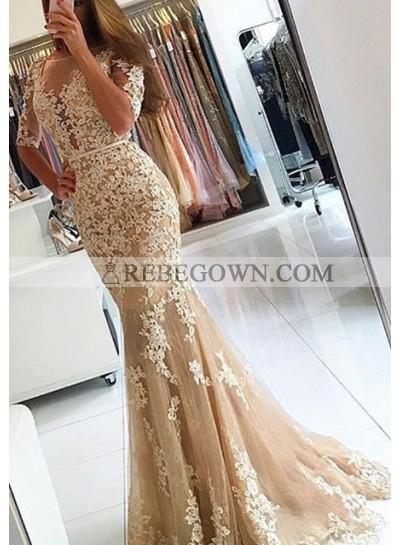 Round Neck Appliques Mermaid Tulle Prom Dresses