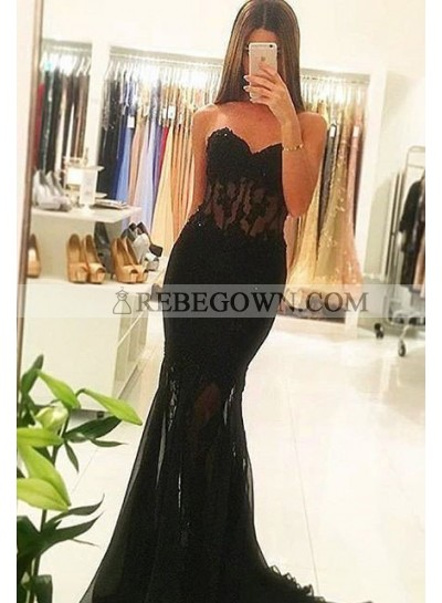 2020 Junoesque Black Sexy Sweetheart Sweep Train Mermaid Tulle Prom Dresses