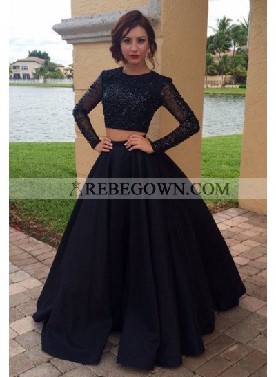 2020 Junoesque Black Beading Long Sleeve Satin Two Piece Prom Dresses