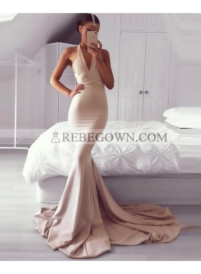 2021 Halter Nude Mermaid  Sweep Train Prom Dresses