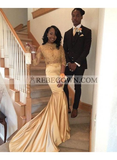 2021 Cheap Yellow Long Sleeves Lace Prom Dresses