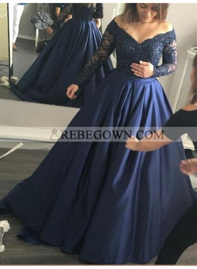 2021 Junoesque Navy Blue Ball Gown Satin Prom Dresses