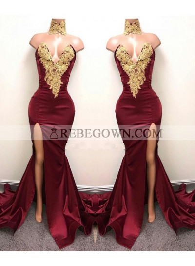 2021 Charming Red V-neck Sexy Satin Prom Dresses