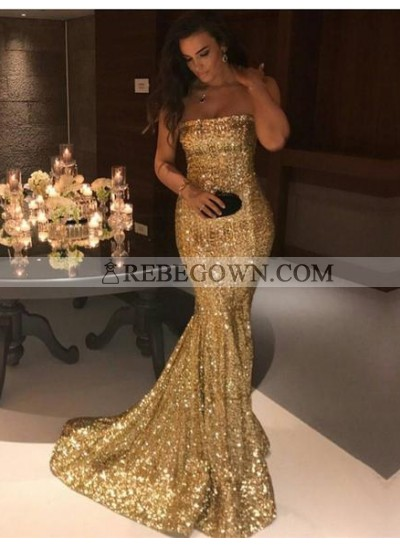 2021 Gorgeous Gold Sequins Mermaid  Prom Dresses