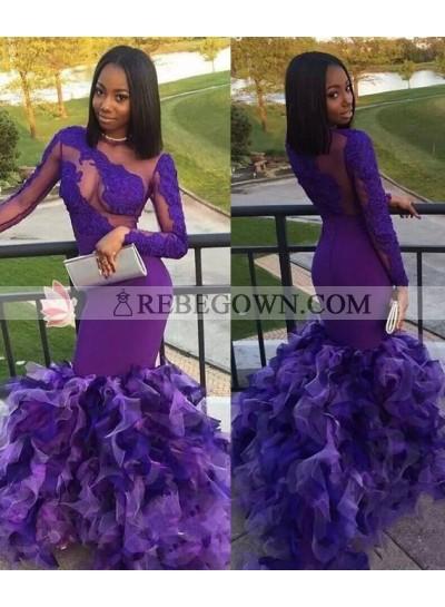 2021 Elegant Long Sleeves Lilac Mermaid  Prom Dresses