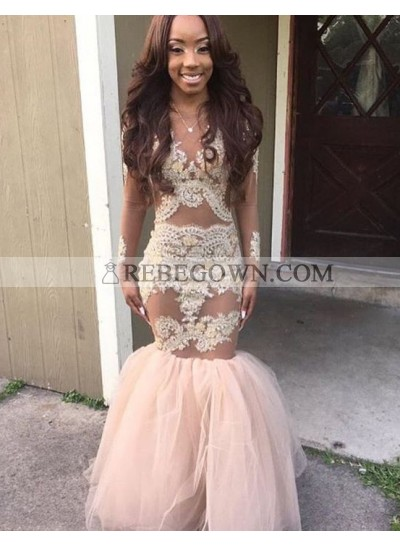 2021 Champagne Appliques Long Sleeves Tulle Mermaid  Prom Dresses