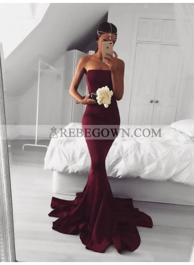 2021 Strapless Burgundy Mermaid  Prom Dresses