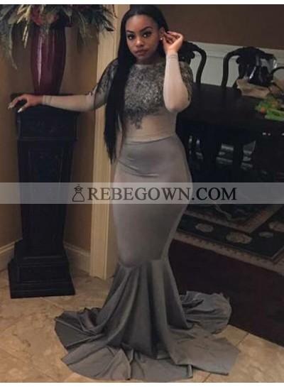 2021 Silver Long Sleeves Mermaid  Prom Dresses