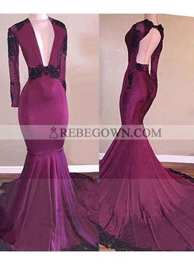 2021 Fuchsia Deep V Long Sleeves Mermaid  Prom Dresses