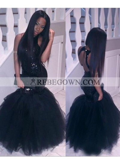 2021 Halter Backless Black Mermaid  Sequins Prom Dresses