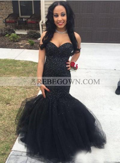 2021 Sweetheart Black Mermaid  Beaded Prom Dresses