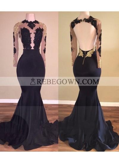 2021 Black Mermaid  Backless Long Sleeves Prom Dresses