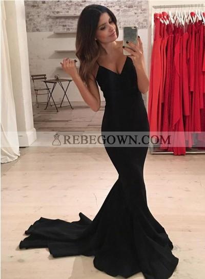 2020 Black Spaghetti Straps Mermaid  Prom Dresses