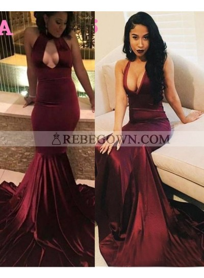 2021 Sexy Halter Burgundy Mermaid  Prom Dresses