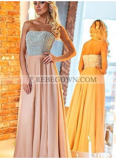 Prom Dresses Strapless Beading Backless A-Line Chiffon